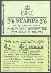F61 2/6 Booklet Dec 1957 Wmk Edward