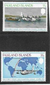 1978   FALKLAND ISLANDS  -  SG.  346 / 347  -  FIRST DIRECT FLIGHT   -  MNH