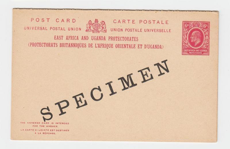 EAST AFRICA & UGANDA EDV11 6c SPECIMEN REPLY PAID CARD, VF UNUSED H&G#8