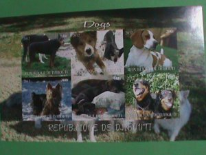 DJIBOUTI STAMP: 2012- COLORFUL BEAUTIFUL LOVELY DOGS MINT NH S/S  IMPERF: SHEET