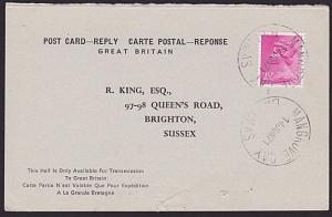 BAHAMAS 1971 GB International Reply postcard used MANGROVE BAY..............6561