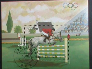 CENTRAL AFRICAN STAMP:1983- OLYMPIC GAMES SHEET POST OFFICE FRESH CTO SHEET-