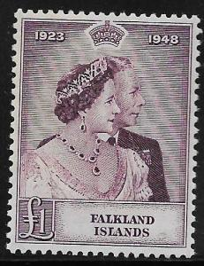 FALKLAND ISLANDS, 100, MINT HINGED, ROYAL ISSUE 1923-1948