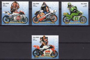 St.Thomas and Principe 2005 JAPANESE MOTORBIKES Set  (4) Perforated MNH