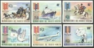 Burkina Faso 332-334,C189-C191 imperf,MNH.Michel 517B-522B. UPU-100,1974.Space,