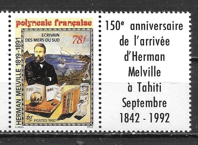 French Polynesia 602 Herman Melville single MNH with Label