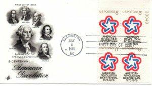 US FDC #1432 Bicentennial Plate Block, ArtCraft (1723)