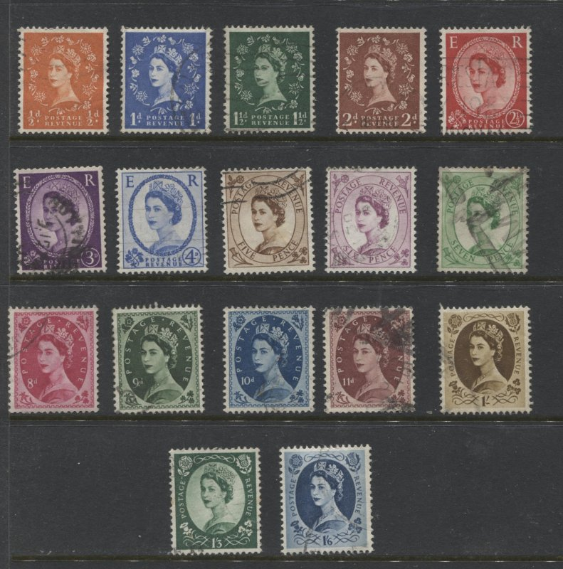 STAMP STATION PERTH GB #292-308 QEII Definitive Set Used 1952-54