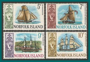 Norfolk Island 1967 Ships (series 2), MNH  #104-107,SG81-SG84