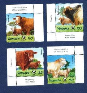 VANUATU - Scott 820-823 - FVF MNH - Cattle, Farming - 2003