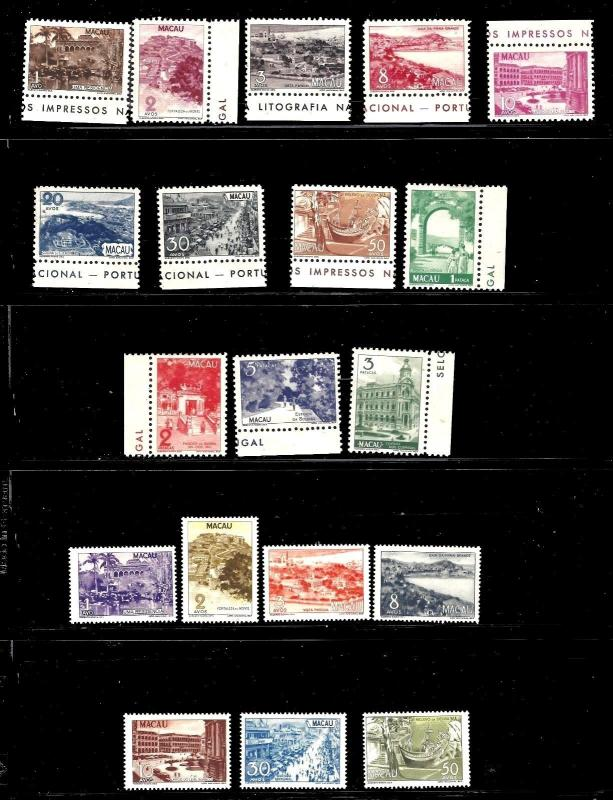 China Macao stamps 1948 -51 both Pictorial sets  MLH