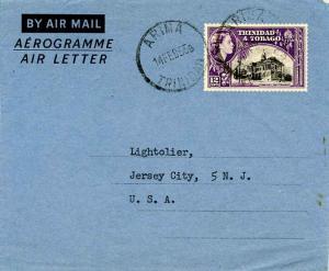 Trinidad 12c QEII Town Hall, San Fernando Air Letter 1955 Arima, Trinidad Air...