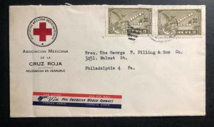 1930s Red Cross Veracruz Mexico Airmail OfficialCover to Philaldephia Pa USA