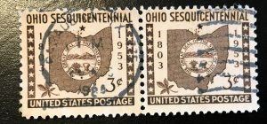 1018 Ohio, circulated  pair, Vic's Stamp Stash