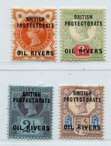 QV BRITISH PROTECTORATE NIGER OIL RIVERS VICTORIA OVERPRINT LOT VF MH