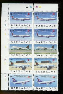 BARBADOS Sc#918-921 Complete Mint Never Hinged PLATE BLOCK Set