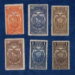 """ECUADOR """"Moviles Tax Revenue"""" collection of 6 stamps  FVF, Used& MH"""
