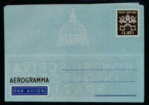 VATICAN HG G4 UNUSED POSTAL STATIONERY AIR LETTER L80 BROWN