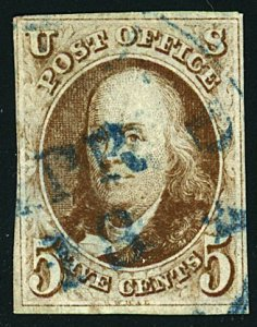 U.S. #1 USED WITH 4 MARGINS BLUE DATE CANCEL