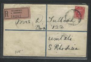 SOUTHERN RHODESIA  (P1703B)  1927  KGV 4D RLE UPRATED 1D SALISBURY  UMTALI