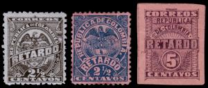 Colombia Scott I1, I2, I4 (1886, 1892, 1902) Mint H F-VF, CV $8.50 B