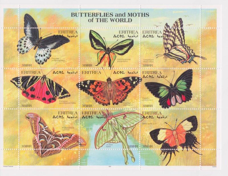Eritrea - Butterflies & Moths of the World, 1997 - Sc 291 Sheetlet of 9 MNH