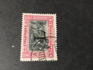 Colombia Sc. 2016 #C184 VF Used Cat. $16. 1950 3P Carmine & Black Ovpt. L