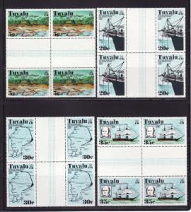 Tuvalu 54-57 Gutter Blocks of 4 Set MNH Various (E)