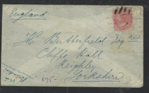 INDIA COVER (P2612B) 1872  8A QV RED CALCUTTA PAID TO ENGLAND