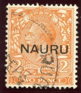 Nauru 1916 KGV 2d orange (Die II) very fine used. SG 16. Sc 4b.