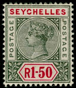 SEYCHELLES SG35, 1r.50 grey & carmine, LH MINT. Cat £85.