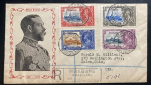 1935 Mbabane Swazaland First Day Cover To Salem OH USA King George V Jubilee