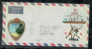 TONGA COVER (PP0301B) FREE FORM STAMPS X3, BOY SCOUTS, GAMES COVER TO USA