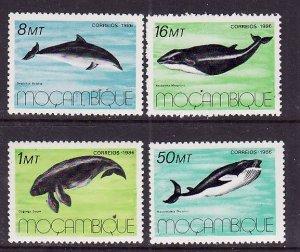 Mozambique-Sc#995-8-unused NH set-Marine Mammals-1985-