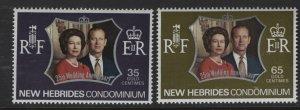 BR. NEW HEBRIDES 169-170  MNH SILVER WEDDING SET 1972