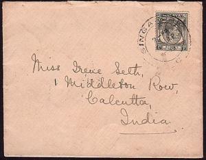 STRAITS SETTLEMENTS SINGAPORE 1939 cover GVI 8c to Calcutta................34576