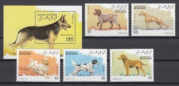 Sahara, 1995 Cinderella issue. Various Dogs set and s/sheet.