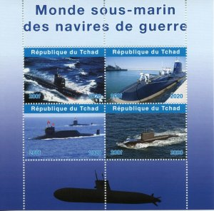 Chad Military & War Stamps 2020 MNH Submarines Ships Boats Nautical 4v M/S