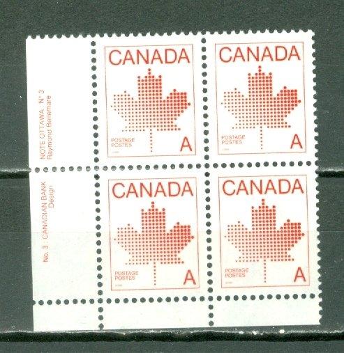 CANADA 1981 A STAMP #907ii...LL PL3 CORNER BLK...MNH...$5.00