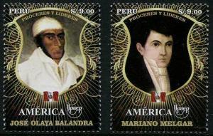 HERRICKSTAMP PERU Sc.# 1875-76 UPAEP 2014 - Leaders