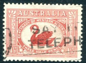AUSTRALIA-1929 Centenary of Western Australia 1½d Dull Scarlet with Re-Entry