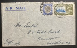1935 Tanga Tanganyika British KUT Airmail Cover To Harrow England