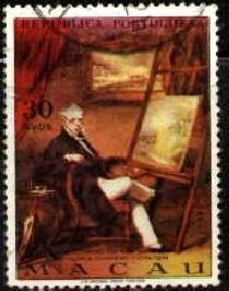George Chinnery, English Painter, Macao stamp SC#432 used