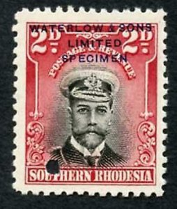 Southern Rhodesia SG4 2d black and carmine printers sample in unissued colour