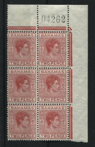 Bahamas 2d Short T in block of 6 unmounted mint NH