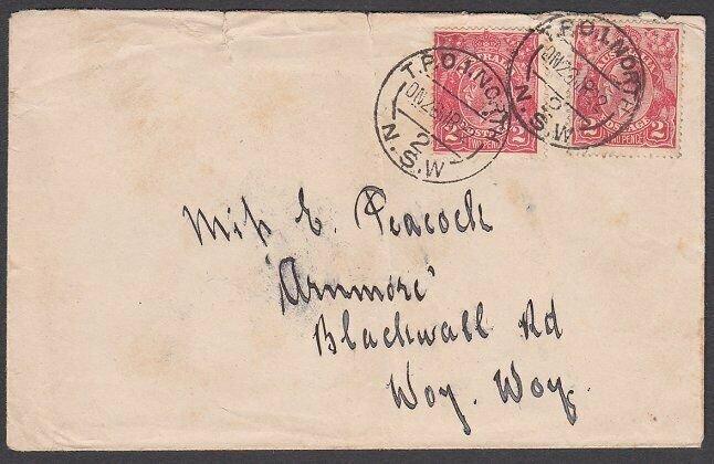 AUSTRALIA 1922 cover - TPO 1 NORTH / NSW railway cancel.....................N598
