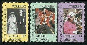 1986 Antigua and Barbuda 935-937 60 years of Queen Elizabeth II