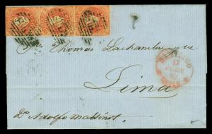 CHILE 1862 COLUMBUS 5c carmine red Sc # 9a VF STRIP of 3 on cover to Lima, PERU