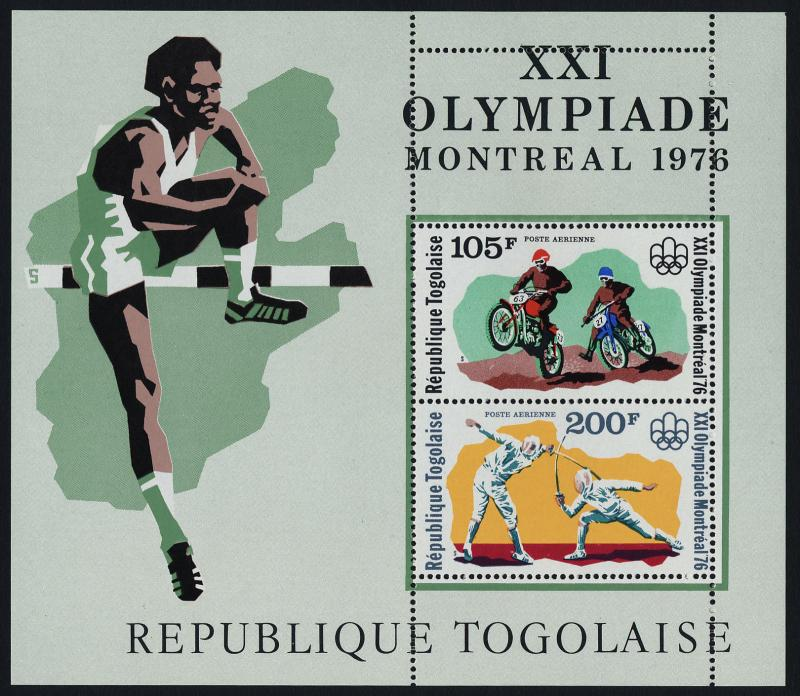 Togo C286a MNH Olympic Sports, Fencing, Motorcycling