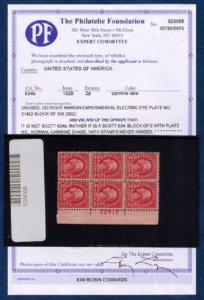 US Sc 634 MNH,Og p# block of 6 PF Cert.EXPERIMENTAL ELECT EYE PLATE .F-VF